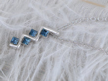 Load image into Gallery viewer, Swarovski Crystal Classic Square Blue Silver Zigzag Pendant Necklace