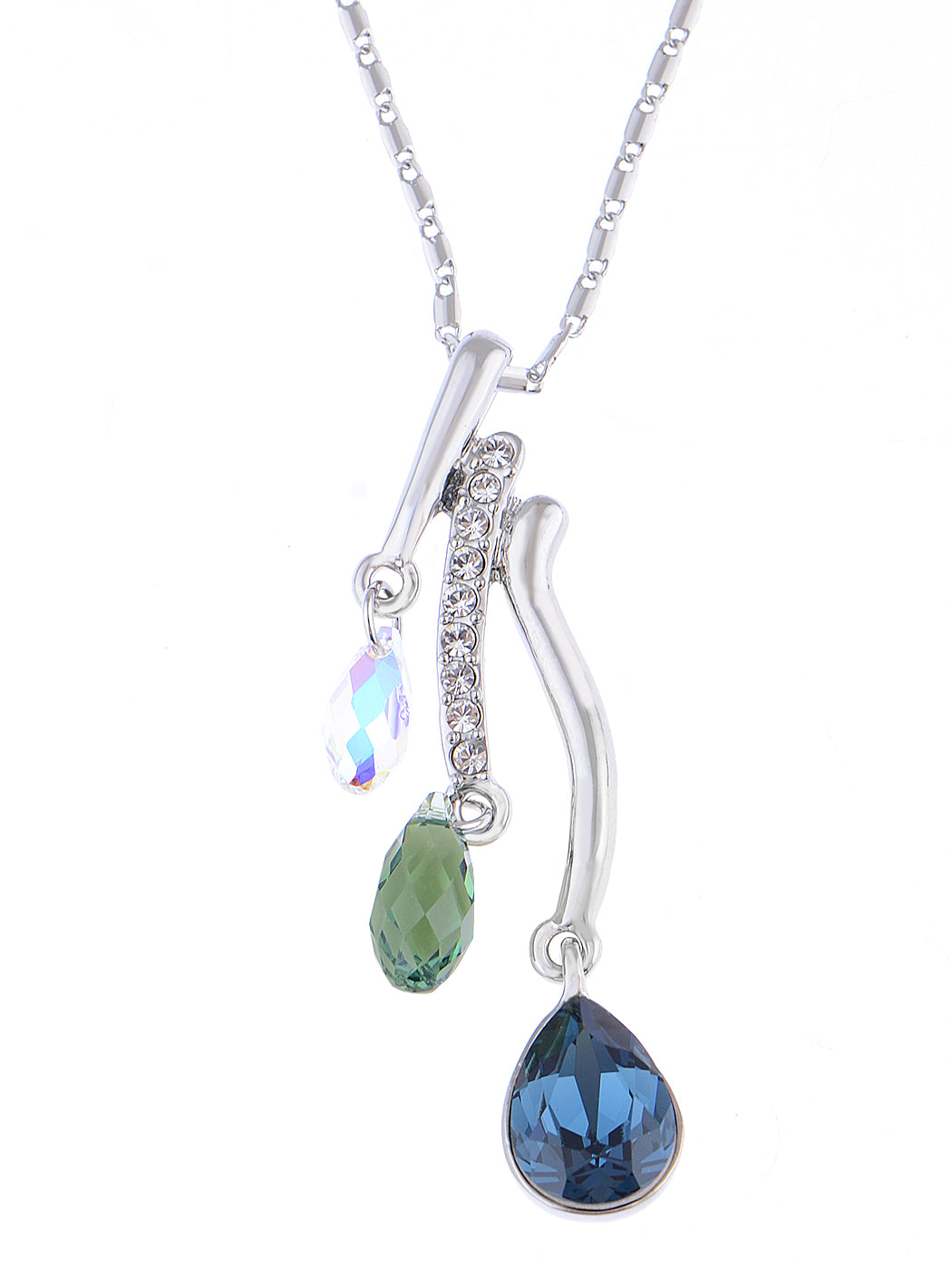 Swarovski Crystal Multicolor Trio Elements Pendant Teardrop Necklace