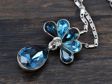 Load image into Gallery viewer, Swarovski Crystal Capri Blue Elements Peacock Feather Teardrop Necklace