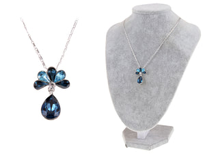 Swarovski Crystal Capri Blue Elements Peacock Feather Teardrop Necklace
