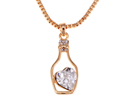 Light Sapphire Elements Heart Bottle Necklace