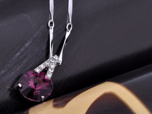 Swarovski Crystal Elements Amethyst Upside Down V Magic Necklace