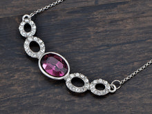 Load image into Gallery viewer, Swarovski Crystal Elements Amethyst Silver Hoops Glory Necklace