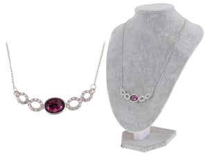 Swarovski Crystal Elements Amethyst Silver Hoops Glory Necklace