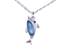 Load image into Gallery viewer, Swarovski Crystal Elements Aquamarine Silver Dolphin Fish Necklace
