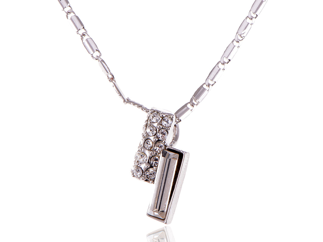 Swarovski Crystal Elements Silver Two Bars Esque Necklace