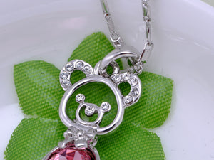 Swarovski Crystal Element Rose Pink Birth Teddy Bear Pendant Necklace
