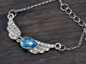 Swarovski Crystal Element Aurora Borealis Aqua Teardrop Angel Wing Necklace