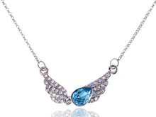 Load image into Gallery viewer, Swarovski Crystal Element Aurora Borealis Aqua Teardrop Angel Wing Necklace
