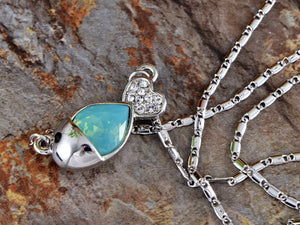 Swarovski Crystal Elements Aquamarine Silver Dolphin Fish Necklace