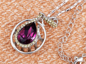 Swarovski Crystal Element Amethyst Teardrop Circle Abstract Web Pendant Necklace