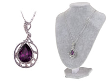 Load image into Gallery viewer, Swarovski Crystal Element Amethyst Teardrop Circle Abstract Web Pendant Necklace
