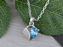 Load image into Gallery viewer, Swarovski Crystal Elements Aquamarine Bow Necklace