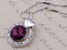 Load image into Gallery viewer, Swarovski Crystal Element Amethyst Round Heart Accent Pendant Necklace
