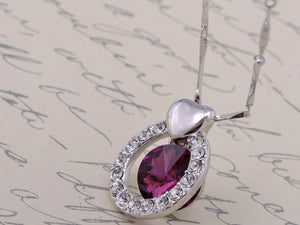 Swarovski Crystal Element Amethyst Round Heart Accent Pendant Necklace