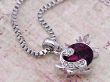 Load image into Gallery viewer, Swarovski Crystal Element Amethyst Round Under Sea Fish Pendant Necklace