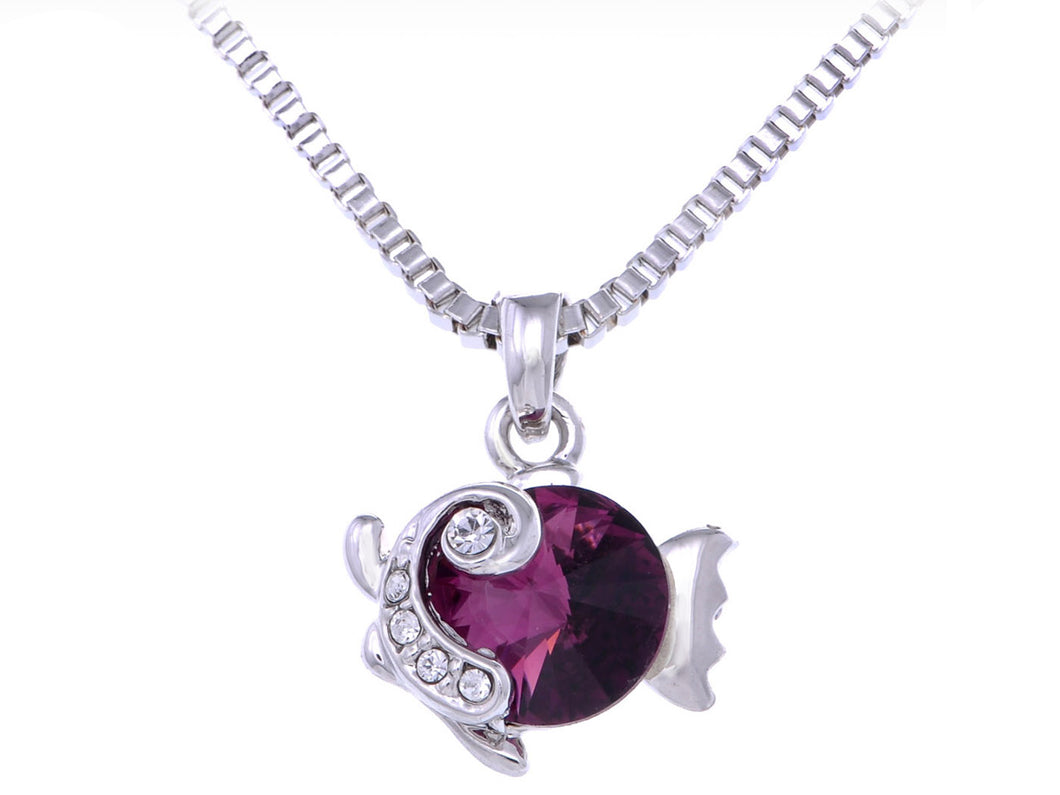 Swarovski Crystal Element Amethyst Round Under Sea Fish Pendant Necklace