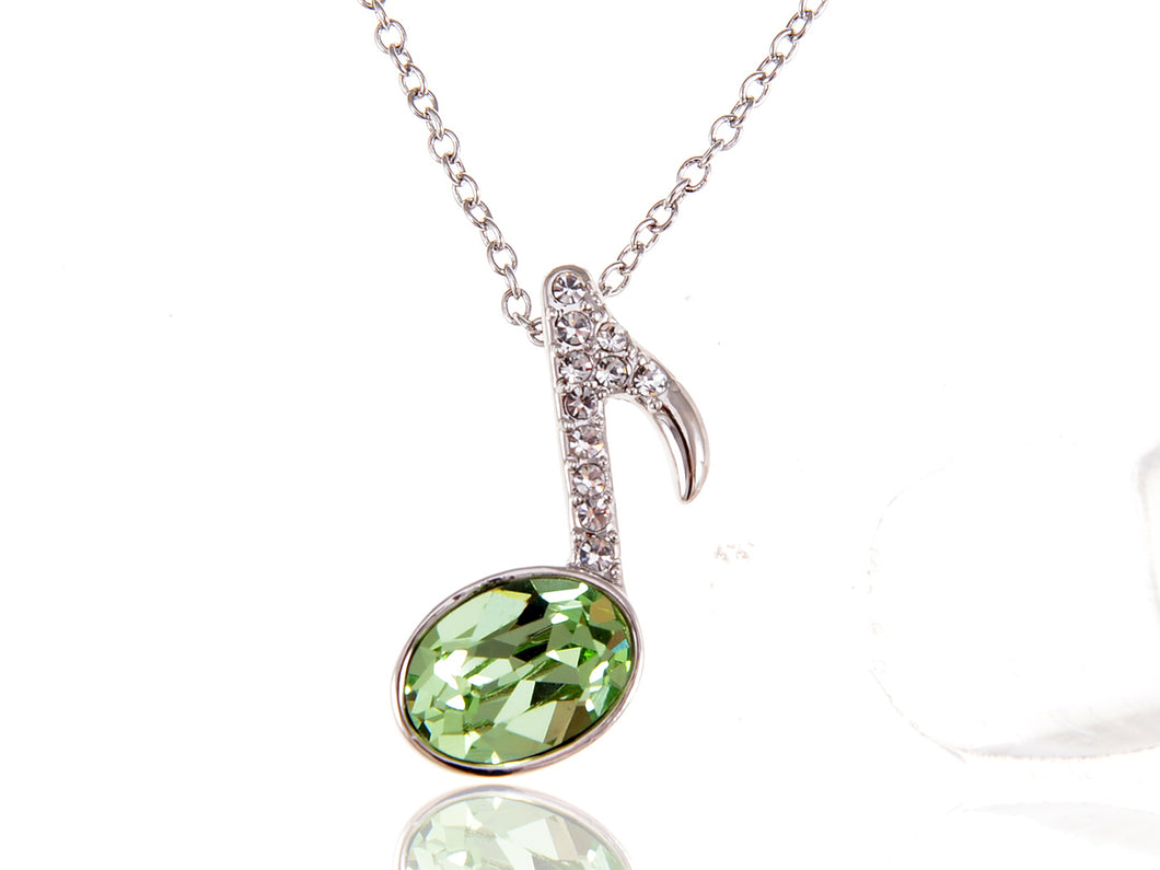 Swarovski Crystal Element Peridot Quaver Music Note Symbol Pendant