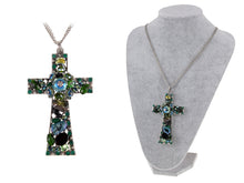 Load image into Gallery viewer, Emerald Holy Cross Elegance Eternity Cluster Magic Chain Necklace