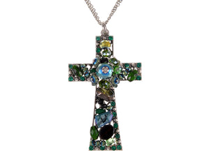 Emerald Holy Cross Elegance Eternity Cluster Magic Chain Necklace