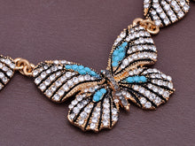 Load image into Gallery viewer, Aqua Blue Butterflies Midst Glory Everlasting Earrings Necklace Set