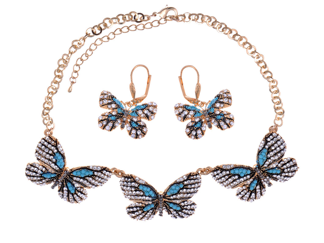 Aqua Blue Butterflies Midst Glory Everlasting Earrings Necklace Set