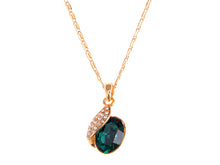 Load image into Gallery viewer, Swarovski Crystal Emerald Elements Leaf Dangling Chain Necklace