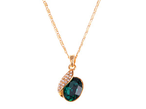 Swarovski Crystal Emerald Elements Leaf Dangling Chain Necklace