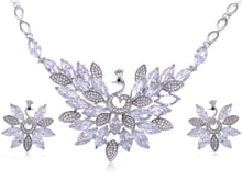 Load image into Gallery viewer, Swarovski Crystal Peacock Necklace Earring Set
