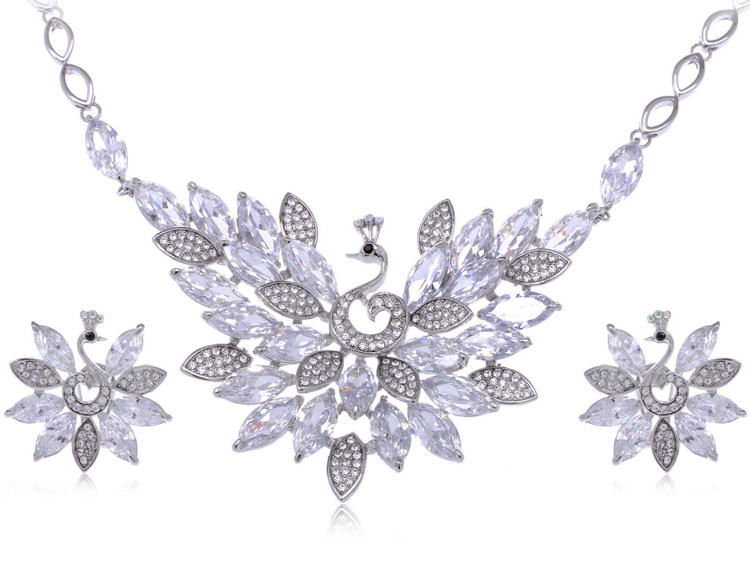 Swarovski Crystal Peacock Necklace Earring Set