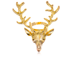 Vintage Retro Deer Antler Stag Moose Elk Head Animal Ring