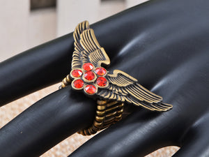 Vintage Polish Ruby Flower Center Pilot Aviator Angel Bird Wings Stretch Ring
