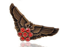 Load image into Gallery viewer, Vintage Polish Ruby Flower Center Pilot Aviator Angel Bird Wings Stretch Ring