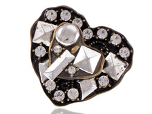 Load image into Gallery viewer, Heavy Art Bits Pieces Beaded Czech Ice Heart Shape Ring