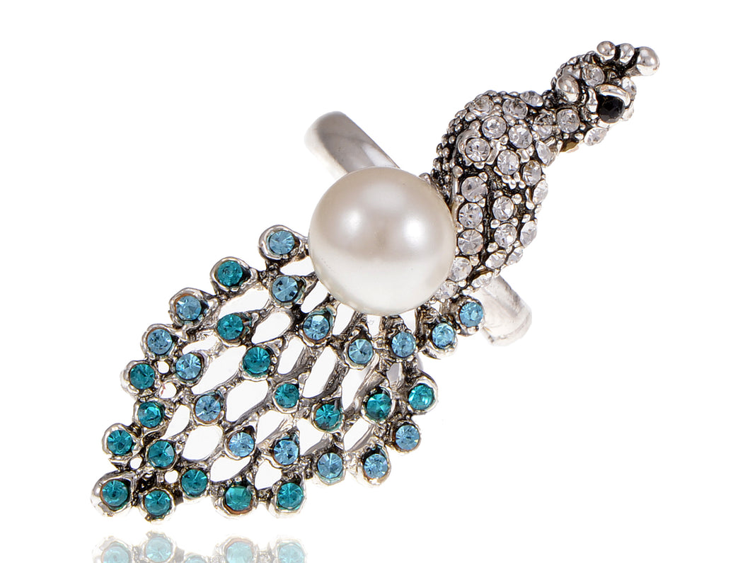 Silver Aquamarine Pearl Peacock Bird Ring
