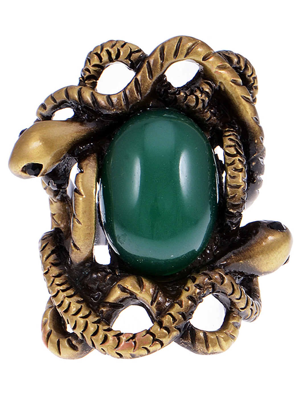 Entangled In Slithering Snakes Emerald Green Center Statement Ring