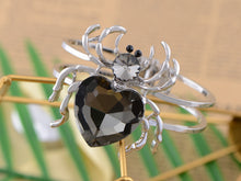 Load image into Gallery viewer, Silver Black Gems Halloween Spider Tarantula Cuff Bracelet