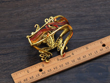 Load image into Gallery viewer, Antique Topaz Colored Cutout Frog Bangle Bracelet