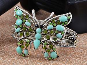 Sea Foam Blue Bead Peridot Butterfly Bangle Cuff