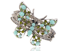 Load image into Gallery viewer, Sea Foam Blue Bead Peridot Butterfly Bangle Cuff