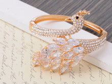 Load image into Gallery viewer, Swarovski Crystal Gold Plated Peacock Bangle Bracelet
