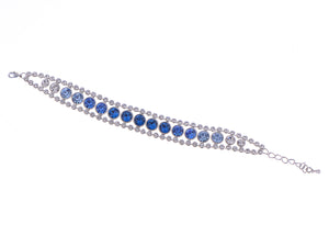 Swarovski Crystal Chain Blue Circular Pattern Element Bangle Bracelet