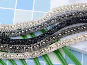 Five Strand Beaded Magnetic Clasp Mesh Monochrome Bracelet