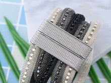 Load image into Gallery viewer, Five Strand Beaded Magnetic Clasp Mesh Monochrome Bracelet