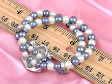 Load image into Gallery viewer, Two Row Pearl Sparkle Cluster Frog Clasp Bracelet