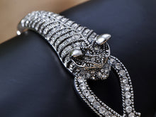 Load image into Gallery viewer, Swarovski Crystal Elements Encrusted Fierce Jaguar Head Bangle Bracelet