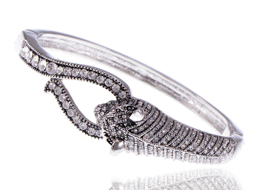 Swarovski Crystal Elements Encrusted Fierce Jaguar Head Bangle Bracelet