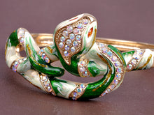 Load image into Gallery viewer, Elements Green Enamel Paint Intertwined Snake Bangle Bracelet