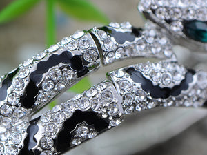 Swarovski Crystal Punk Flexible Silver Snake Bracelet Slinky Bangle Arm Accessory