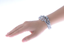 Load image into Gallery viewer, Swarovski Crystal Punk Flexible Silver Snake Bracelet Slinky Bangle Arm Accessory